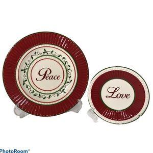 "Cracker Barrel Plaid Tidings ""Peace & Love"" Plates"